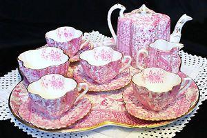 English 1890 Foley Wileman (pre-Shelley) complete rare tea set in Alexandra Dolly Varden pattern   eBay