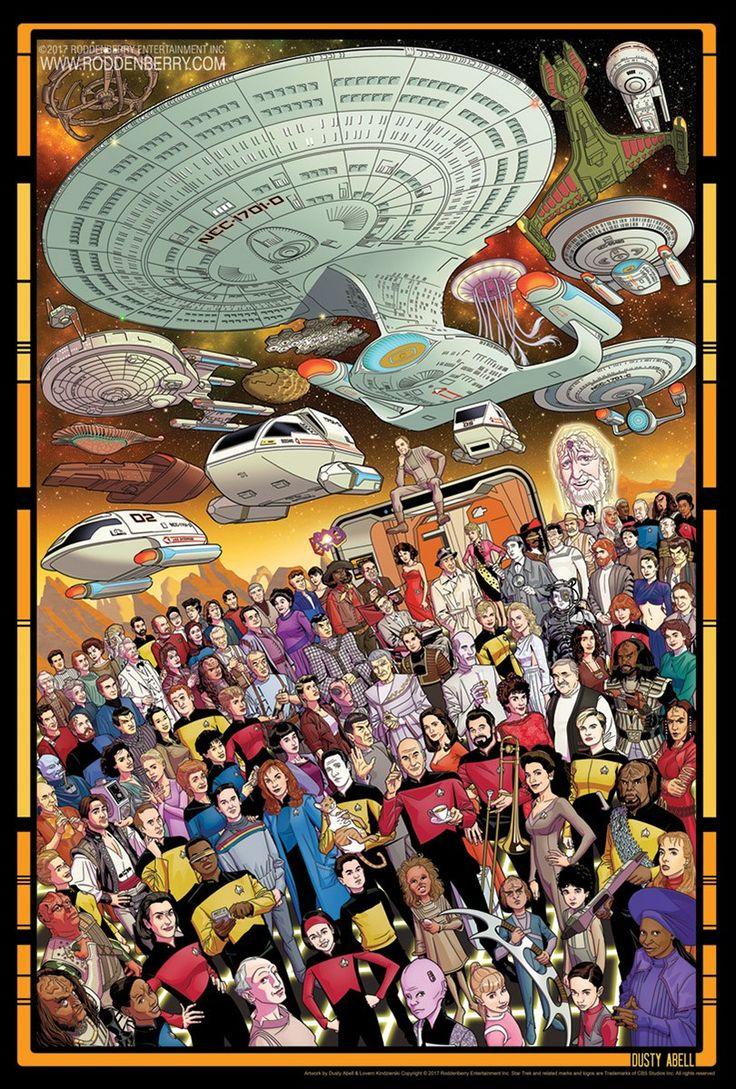 O artista Dusty Abell criou esses incríveis pôsteres de Star Trek para celebrar os 30 anos da série. Reconhece todo mundo ali?