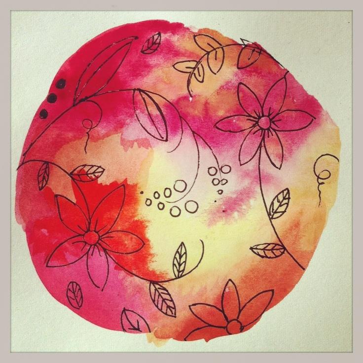 Summer flowers in watercolor