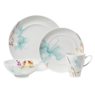 Mikasa®+Aliza+Teal+Dinnerware+Collection+-+BedBathandBeyond.com