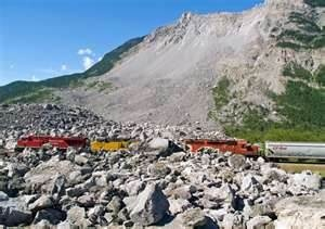 Frank Slide Alberta.. April 29th, 1903 @ 4:10 a.m. 80 million tonnes of limestone crashed from the summit of Turtle Mountain and buried part of the town of Frank....the rock were 500' deep, 1400' highand 3280' wide .
