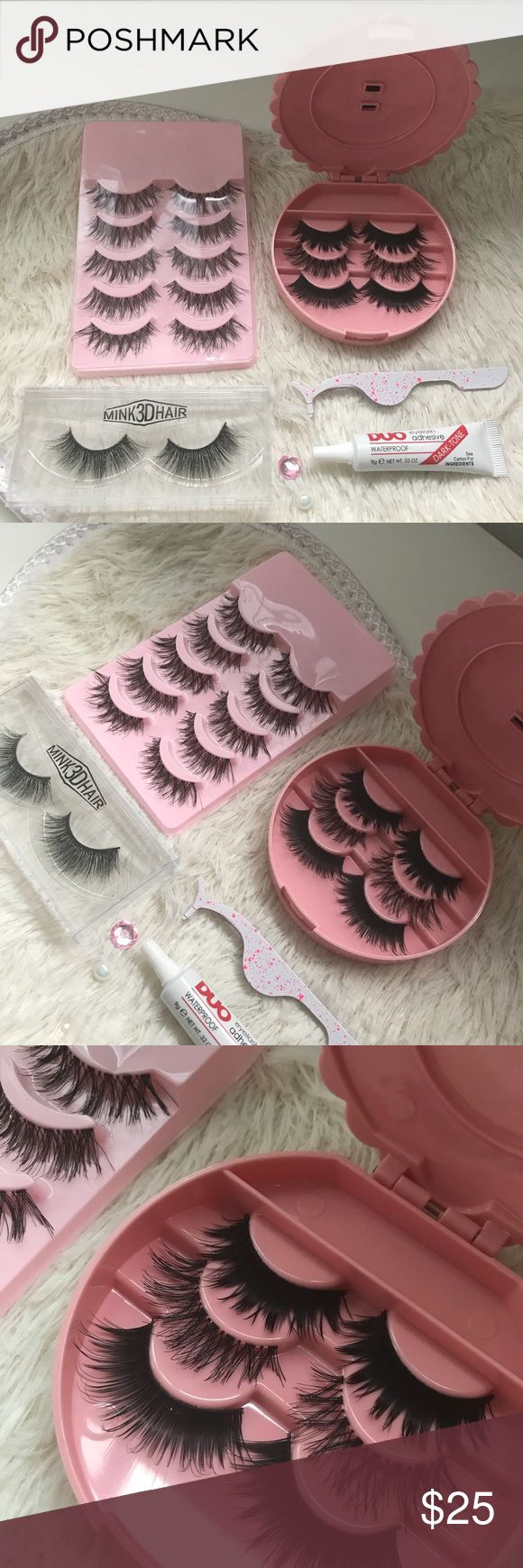 Wispy Eyelashes set ⭐️1 Premium Mink Eyelashes  ⭐️5 Pairs of wispy Lashes ⭐️3 kinds of wispy lashes  ⭐️applicator ⭐️Duo Glue  ⭐️Eyelash Case ( all colors available)   # tags wispies, Demi , makeup, Iconic, mink, red cherry eyelashes, house of lashes, doll, kawaii, case, full, natural,  Koko, Ardell, wispies, Demi , makeup, mascara, eyelash applicator, Mykonos Mink , Lashes , wispy ,eyelash case, mink lashes  Ship within 24 hours ❣️ PRICE IS FIRM Makeup False Eyelashes