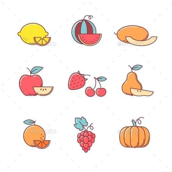 Fruit Icons Thin Line Set #design Download: http://graphicriver.net/item/fruit-icons-thin-line-set/13436466?ref=ksioks