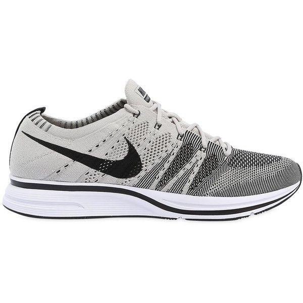 Nike Men Flyknit Trainer ($165) ❤ liked on Polyvore featuring men's fashion, men's shoes, men's sneakers, grey, nike flyknit mens shoes, nike mens shoes, mens rubber sole shoes, mens low profile sneakers and mens shoes