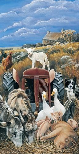 The Old Red Tractor Blank Greeting Card by Pollyanna Pickering, Farm Animals