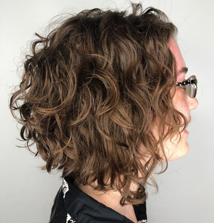 65 Different Versions of Curly Bob Hairstyle #32: Disheveled Wavy Light Brown Bob Choose a stacked inverted bob cut to give a flattering shape to your...