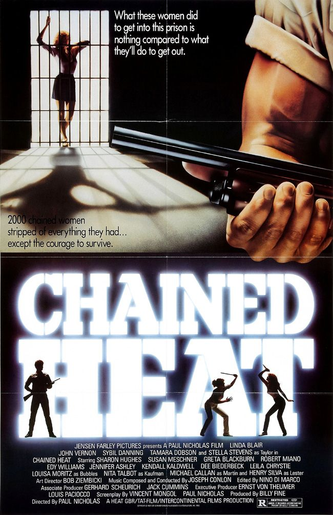 CHAINED HEAT - LInda Blair - John Vernon - Sybil Danning - Tamara Dobson - Stella Stevens - Directed by Paul Nicholas - Intercontinental Films - Movie Poster.