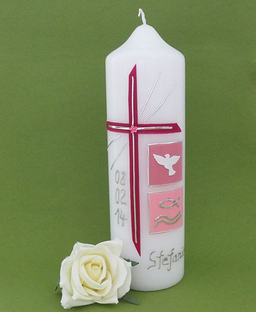 Elegante Taufkerze für Mädchen!