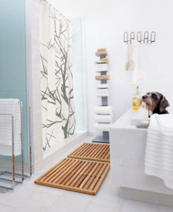 OK so maybe not this particular mat, but if you go to the article you can see a few different kinds. I enjoy the polished and clean zenlike look of wooden bath mats. Also, they don't attract lint and are easy to clean. Thoughts?