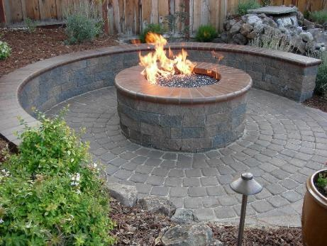 Sunken Fire Pit With Seating Retaining Walls