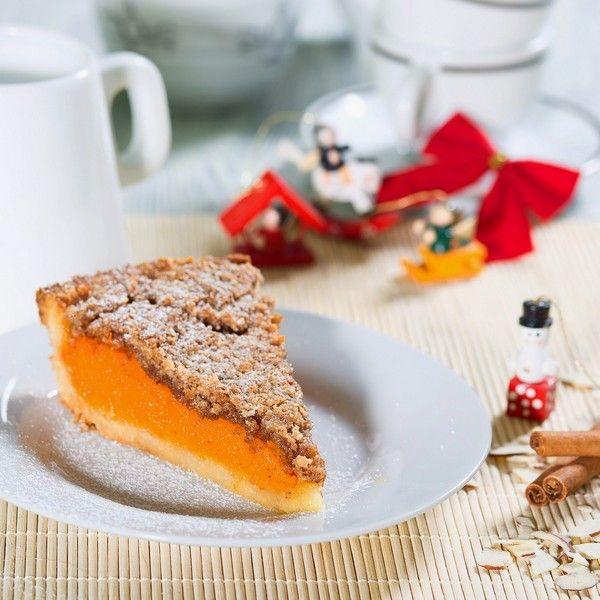 Spiced pumpkin tart with almond crust