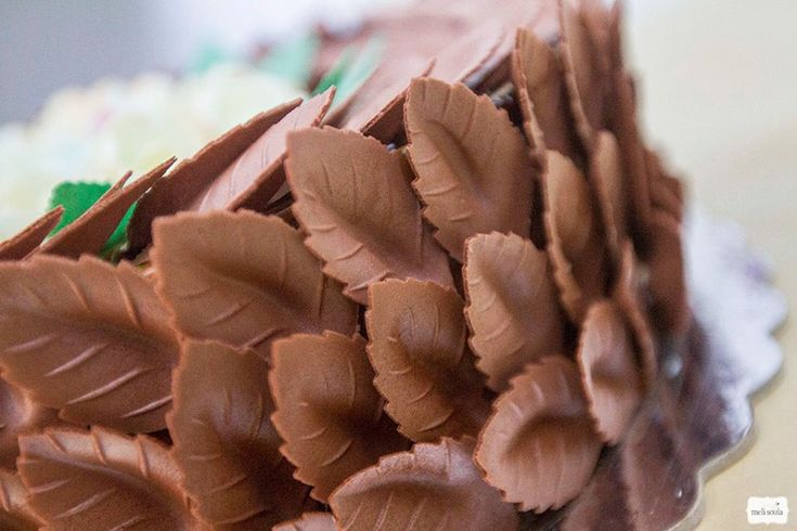 3d τούρτα με σοκολατένια φύλλα