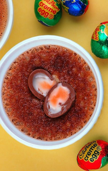 Cadbury Creme Egg Creme Brulee: Creme Brulee with actual melted Cadbury Creme Eggs