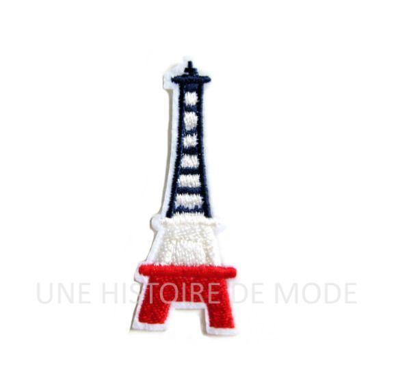 Patch tour Eiffel / Paris à coudre ou repasser 70 x 27 mm - applique Tour Eiffel France bleu , blanc , rouge - écusson France : Déco, Customisation Textile par une-histoire-de-mode