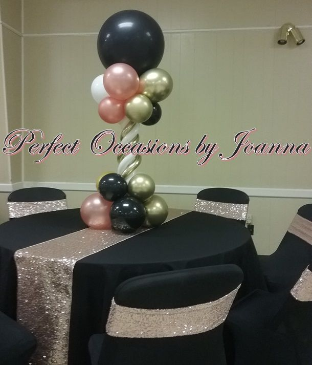 Black Rose Gold White And Chrome Gold Rose Gold Party Decor