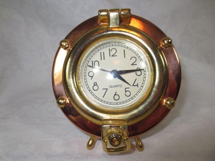 "Vintage Mantel NAUTICAL Style PORTHOLE CLOCK ~Copper & Brass 12-hour 3"" Tall #Unbranded #ArtDeco"