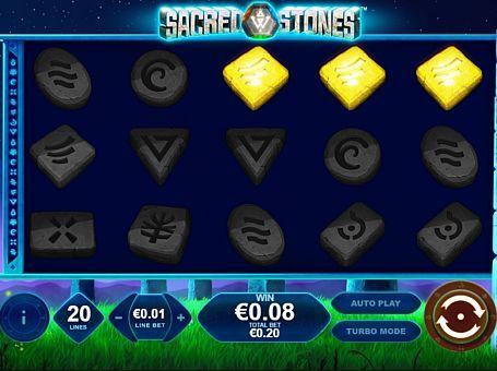 Ігровий автомат Sacred Stones онлайн з виведенням грошей  Темою ігрового апарату Sacred Stones стали таємничі знаки. У цьому онлайн автоматі вас чекає 5 барабанів і 20 ліній виплат. Ви будете виводити великі суми реальних грошей за допомогою безлічі фріспінов, що активуються незвичайним способом.