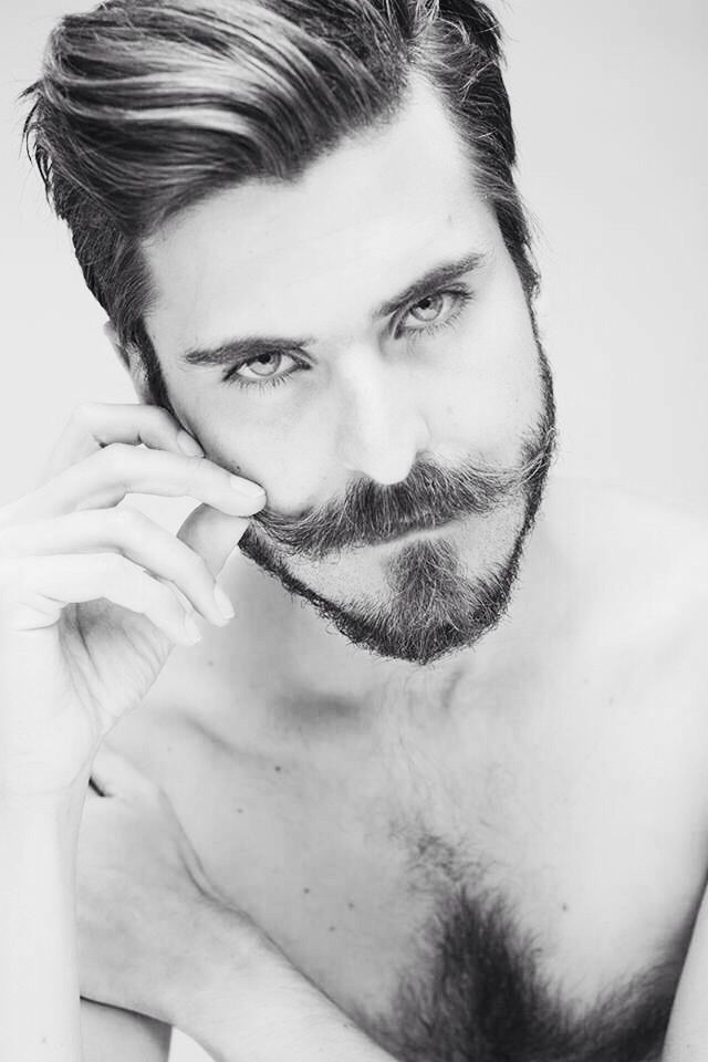 Hair + mustache and beard + bedroom eyes= dangerously sexy