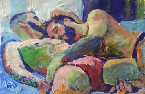 Nap Time by RD Riccoboni. #art #artist #gay #men #m4mromance #gaybear #gayscruff #gayart #impressionism #lgbtart #lgbt #gaybear #beardedartist #beardsex #beastmode #beardporn #beards #gaycouples #gaycouplesinart