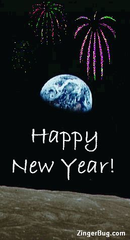Earth rising over the moon with animated fireworks over the earth Happy New Year