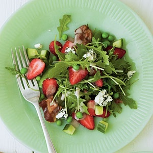 This is absolutely wonderful! The salad is perfect for spring with arugula, sugar snap peas, cucumbers, strawberries and bacon. The suggested salad dressing (Sweet Basil Vinegarette) is so good I could almost drink it. I highly recommend trying this, and you could toss in a little chicken if desired.
