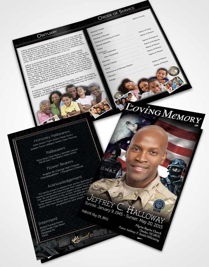 bifold order of service obituary template brochure natural swat