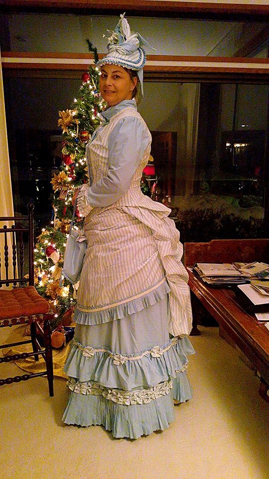 I used truly victorian patterns. I used TV 101...bustle petticoat. TV261.. 1885 Four-Gore Underskirt, TV 365 1883 August Overskirt, TV 463...1884 French Vest Bodice, tv170..Victorian Petticoat. For the hat I used a lynn McMaster pattern..