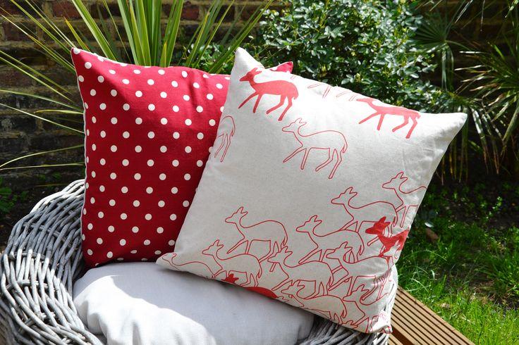 Red Polka Cushion Cover (£22.00) & Red Scandi Deer Herd Cushion Cover (£30.00)