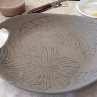 Before of pottery camp platter