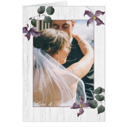 White Wood & Purple Flowers Photo Thank You Card - floral style flower flowers stylish diy personalize