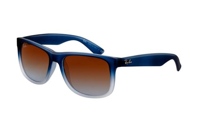 Ray Ban Justin RB4165 Sunglasses Rubber Gradient Blue Frame Tra Gradient Brown