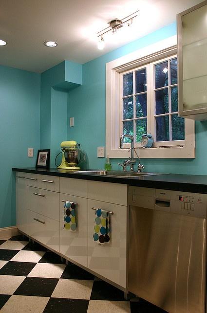 Kitchen painted Benjamin Moore Tropicana Cabana #white #aqua #kitchen