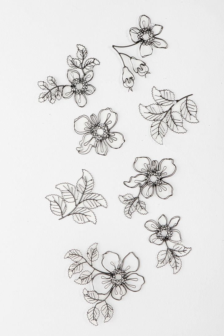 Wire Flower Sculpture Wall Art - Set Of 8  #UrbanOutfitters