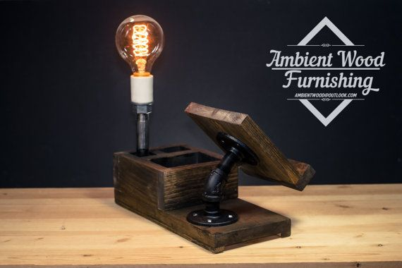 Wood Docking Station Lamp With BedSide Utility by AmbientWood