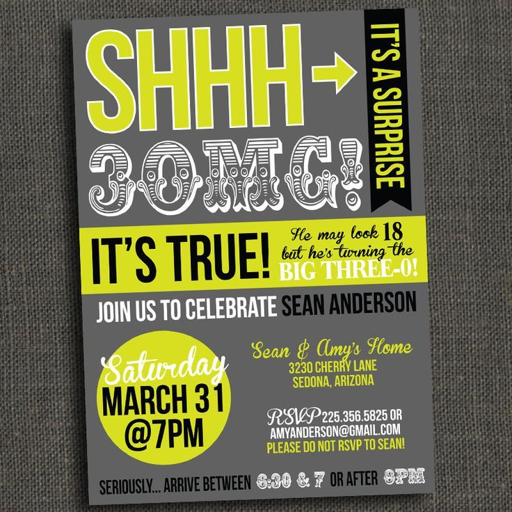 The 25 best Surprise birthday invitations ideas – Shhh Surprise Party Invitations