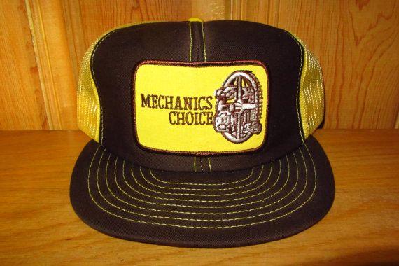 True Vintage 80s MECHANICS CHOICE hat in Brown Coffee & Yellow Sunshine at HatsForward