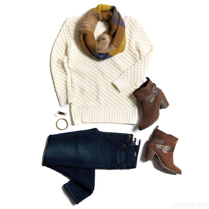 Like this outfit!  Love the creamy sweater and the warm tones in the scarf.
