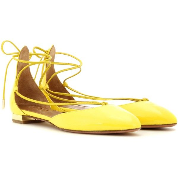 Aquazzura Alexa Patent Leather Lace-Up Ballerinas ($585) ❤ liked on Polyvore featuring shoes, flats, aquazzura, yellow, ballet flats, yellow flat shoes, flat pumps, flat shoes and patent leather shoes