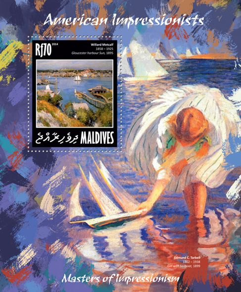 "MLD 14208 bAmerican Impressionists (Willard Metcalf ""Gloucester Harbour Sun"" 1895)"