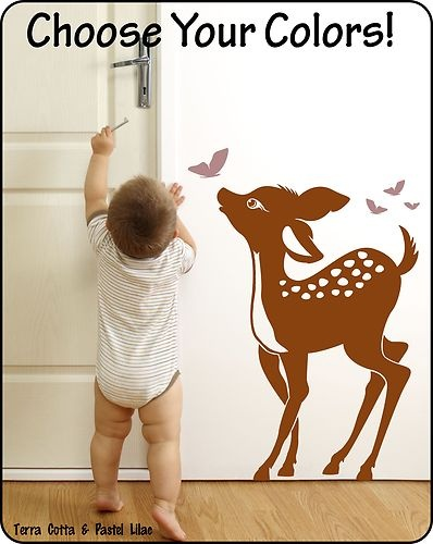 Baby Deer Fawn Vinyl Wall Decal Sticker for Nursery or Childrens Room CUTE!! | eBay
