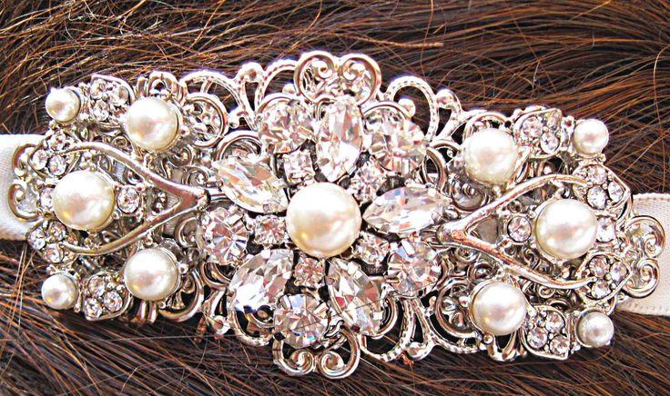 Wedding Head band Ivory Pearl  Ivory Ribbon by MissJoansBridal, $39.50