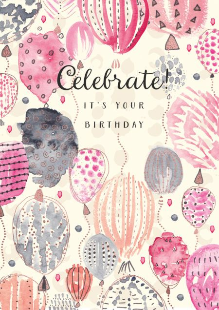 Rebecca Prinn - RP Watercolour Copper Foil Balloons Birthday