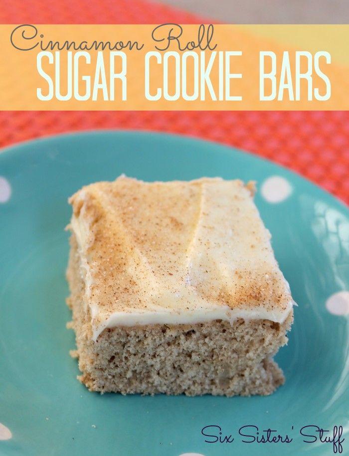 Cinnamon roll sugar cookie bars... yummy!