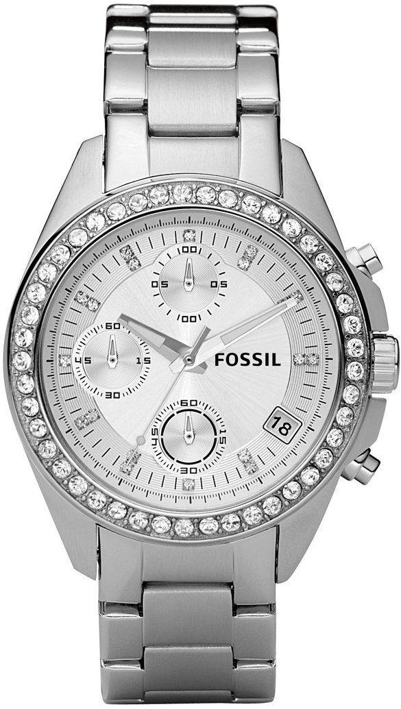 #Fossil #Watch , Fossil Women's ES2681 Stainless Steel Bracelet Black Glitz Analog Dial Chronograph Watch