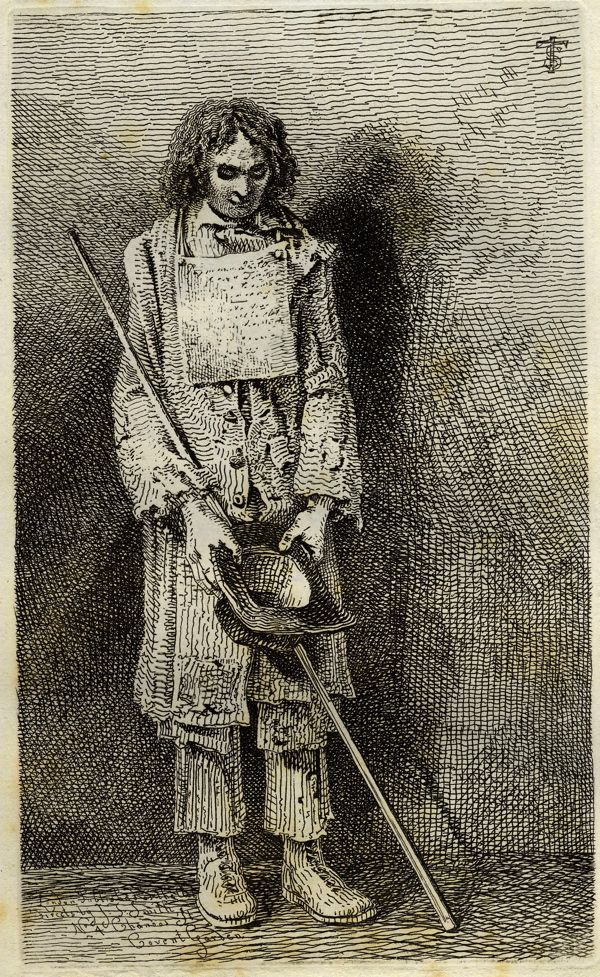 """Vagabondiana"" by John Thomas Smith (1817): ""A blind beggar with a note hung round his neck appealing for charity."""