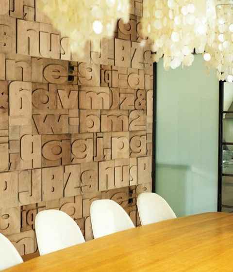 letterpress wall paper!: Features Wall, Wall Deco, Letters Press, Interiors Design, Wall Treatments, Wooden Letters, Letters Wall, Accent Wall, Wallpapers Design