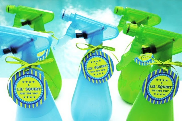 Party favors! Cute for a pool party, splash party, etc. What kid doesn't love a spray bottle! Maybe you could get them to water the plants with them! LOL
