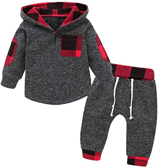 Amazon Com Konfa Toddler Baby Girls Boys Autumn Clothing Stylish Plaid Pocket Hoodie And Pants 2pcs Outfits Girls Fall Outfits Cute Baby Clothes Boy Outfits