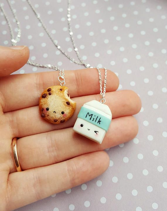 BFF Cookie and milk necklace, clay charms, Friendship necklace, Miniature food jewelry, Best friend keychain, Kawaii necklace, Food pendant