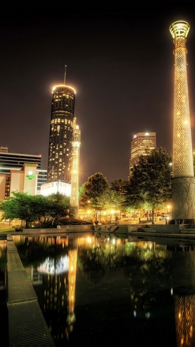 park, usa, centennial atlanta, night, hdr